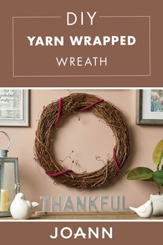 Decorate your mantel wall or front door this season with this pretty DIY Yarn Wrapped Wreath from JOANN! You can also hang this decorative piece on your front door for visual elegance. Fun Diy Crafts, Fall Crafts, Crafts For Kids, Fall Projects, Diy Craft Projects, Christmas Tree Ornaments, Christmas Crafts, Christmas Ideas, Xmas