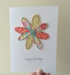 Handmade free motion machine embroidery birthday card | made by hollyyork