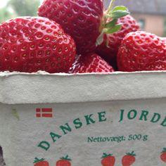 Danish Strawberries - we eat them with cold milk, cream and sugar = the taste of Danish Summer