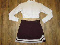 Youth Child Large Cheerleader Uniform Cheer Outfit Costume Crop Top Skirt Maroon in Sporting Goods, Team Sports, Cheerleading   eBay
