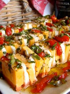 Learn to craft Marinated Cheese! White cheddar, cream cheese, sweet peppers, and dark cherry balsamic vinegar are just the beginning! To be paired with a crisp, clean Chardonnay. http://www.snooth.com/articles/oak-mountain-winery-marinated-cheese/