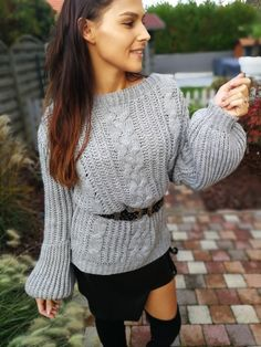 Pull Calinou gris Pull Grosse Maille, Peplum, Pullover, Sweaters, Tops, Women, Fashion, Chunky Knits, Moda