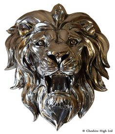 Large Silver King 3D Lion Head Wall Decoration