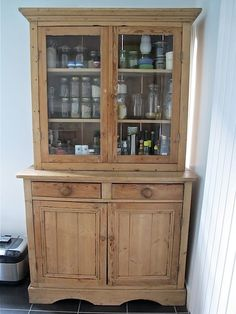 Traditional Welsh dresser with glass fronted doors, stripped wood; Found in local vintage furniture shop in Walthamstow, London (that has long since closed! Used for displaying store cupboard ingredients so they are easy to see at a glance. Kitchen Fittings, Furniture Makeover, Furniture Shop, Dark Bedroom Furniture, Farmhouse Decor Living Room, Oak Bedroom Furniture, Sitting Room Decor, Milk Crate Furniture, Vintage Furniture