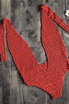 Women Halter Plunging Crochet Backless Sexy One Piece Swimsuit - Red, One Size Retro One Piece Swimsuits, Retro Swimwear, Bathing Suits One Piece, One Piece Swimwear, One Piece Swimsuit With Shorts, Bralette Pattern, Crochet One Piece, Swimsuit Pattern, Crochet Fashion