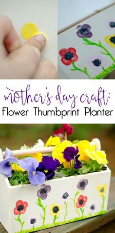 Mother's Day Craft: Flower Thumbprint Planter - This is a perfect Mothers Day gift idea that kids can make.