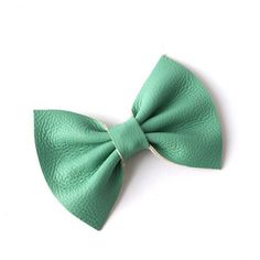 Image of Medium Leather Hair Bow - Mint