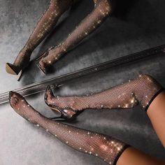 Bestyleme Women Sparkle Black High Heels Thigh High Heels, High Heel Boots, Heeled Boots, High Socks, Sparkly High Heels, Black High Heels, Ego Shoes, Women's Shoes Sandals, Jeweled Shoes