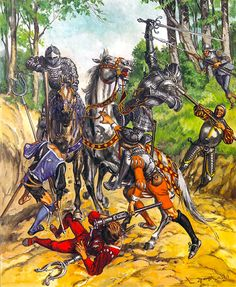 Knights ambushed by infantry early 1500s.