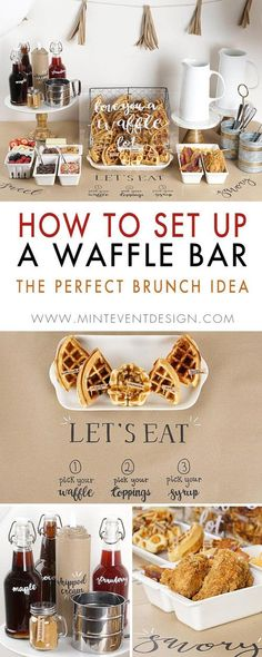 """How to Set Up a Waffle Bar This Waffle Bar set up will have you saying """"love you a waffle lot"""". This creative party set-up is one of the best Brunch Party Ideas for Mothers Day or any family or friend celebration. The waffle theme is a fun breakfast Waffle Bar, Waffle Toppings, Christmas Brunch, Christmas Breakfast, Breakfast Party, Brunch Party Foods, Breakfast Bar Food, Brunch Food, Party Appetizers"""