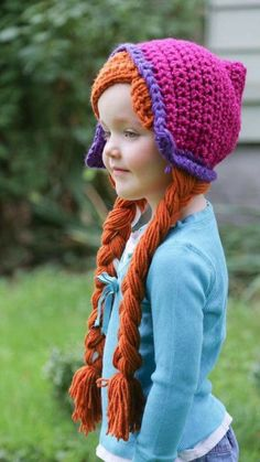 Anna Crochet wig hat with Braids Anna Crochet wig hat with Braids by YellowSpotDesigns on Etsy Crochet Kids Hats, Crochet Beanie, Crochet Crafts, Crochet Baby, Knitted Hats, Knit Crochet, Crochet Wigs, Yarn Projects, Crochet Projects