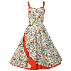 1950's Italian Seashells Novelty Print Cotton Circle-Skirt Dress
