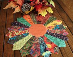 Quilted Fall Harvest Table Topper, 12 inch Thanksgiving Candle Mat, Dresden Plate Handmade Pieced Mini Quilt, Runner, Orange Center