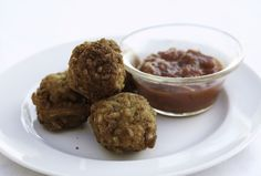 Fried Risotto Balls with Marinara Dipping Sauce - Yes, I consider these a Chanukah recipe - they even look like a donut.