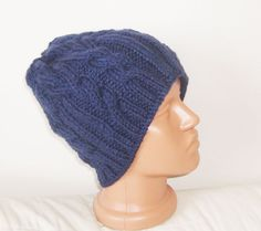 Hand Knit Hat Mens Hat Fishing Hat in Navy Blue  by earflaphats, $37.00