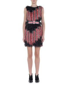 Allover Fringe Striped Dress, Size: 40 IT (4 US), Multi Colors - Fendi