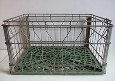 Vintage Metal  Crate basket  Store locker by SalvageRelics on Etsy, $38.00