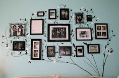 photo tree wall. http://www.luuux.com/design/shannah-lanes-classy-tiffany-inspired-bedroom