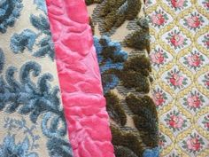 A Pretty Grouping Of Various Raised Velvet Fabrics In Pink And Blue Kimberly Niesz Vintage Cut