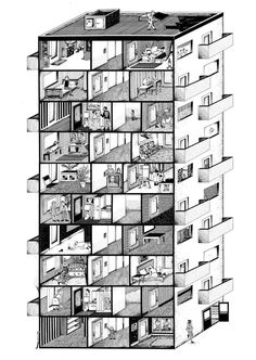 Icelandic artist Arnar Ásgeirsson creates narrative works employing disparate materials and techniques, from video to installation and animations. The drawings presented here show a sliced apartment building seen from two different viewpoints. The perspectives are executed in black and white and...