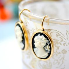 Black Cameo Earrings by NestPrettyThingsShop on Etsy, $25.00. I have to have theseeee!!!!!!