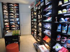 I am such a huge sneaker head its not even funny.  I just love having all different and unique types of style sneakers. 8 Black BILLY bookcases displaying sneaker collection