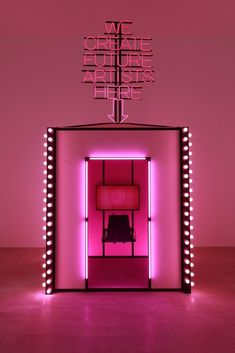 """Pink neon light art installation byWang Xin, with text reading, """"We create future artists here. Neon Light, Light Art, Future Artist, Tout Rose, Rustic Room, New Artists, Retail Design, Pink Aesthetic, Visual Merchandising"""