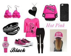 """""""Hot Pink and Black"""" by holly32196 on Polyvore featuring Passport, Victoria's Secret, Topshop, Converse, Glitzy Rocks, BaubleBar, black, hotpink and springfashion"""