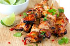 Easy Key West Grilled Chicken- Combines the flavors of fresh lime, zesty soy sauce, garlic and just the right amount of honey - delicious! We added vegetables to the skewers as well, yum! Great Recipes, Favorite Recipes, Special Recipes, Easy Recipes, Good Food, Yummy Food, Tasty, Think Food, Cooking Recipes