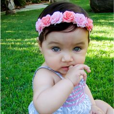 30 Off Entire Order Crown of Roses Headband Baby Headbands Newborn... ($8.99) ❤ liked on Polyvore featuring accessories, grey, hair accessories and headbands & turbans