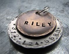 Custom Pet ID Tag / Dog Tag Riley in Mixed Metal by theCopperPoppy. $15.50, via Etsy.