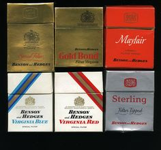 Benson and Hedges cigarette packets, late 60s by retrowow, via Flickr