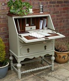 Beautiful Vintage Shabby Chic Painted Oak Desk Bureau F&B