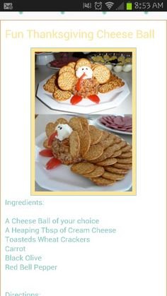 Turkey shaped cheese ball