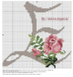 alphabet - e - rose - point de croix - cross stitch - Blog : http://broderiemimie44.canalblog.com/