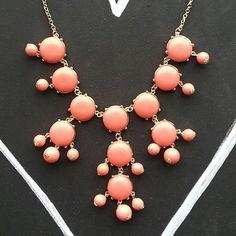 SALE Peach Coral J Crew Style Bubble Necklace by MelangeShopLove, $14.99