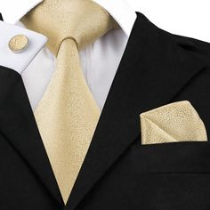 4.88$  Buy here - C-1116 Fashion Mens Tie Set Gold Snow Neck Tie Pocket Square Cufflinks 8.5cm Classic Jacquard Silk Ties for Men Suits Corbatas   #bestbuy