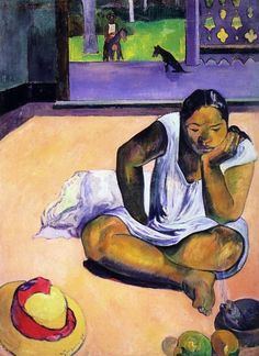Silence, 1891..Paul Gauguin. Teha'amana, also called Tehura, was a model for many of his most beautiful paintings.