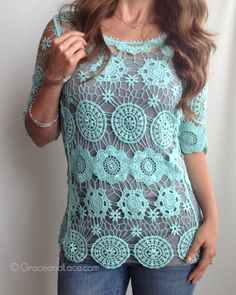 Grace and Lace Crochet Tunic on Jackie Deals