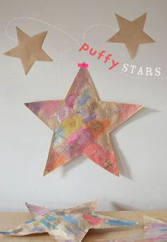 Puffy Paper Star Art for Kids Projects For Kids, Craft Projects, Crafts For Kids, Arts And Crafts, Paper Crafts, Christmas Star, Christmas Crafts, Christmas Snacks, Stars Craft
