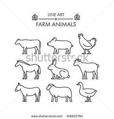 Outline figures of farm animals. Vector figures icon set. Vector cow, pig, chicken, horse, rabbit, goat, donkey, sheep and geese