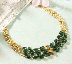 Gold Jewelry Design In India Key: 9938847721 India Jewelry, Bead Jewellery, Temple Jewellery, Beaded Jewelry, Beaded Necklace, Necklaces, Emerald Jewelry, Pearl Jewelry, Jewelery