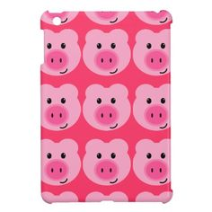 Cool pink iPad Mini case with cute pigs.