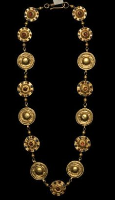 Greek Gold Plaque Necklace with Inset Stones Ca.300 BC