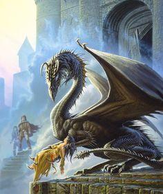"""The amazing Michael Whelan's illustration for the cover of Barbara Hambly's novel Dragonsbane. """