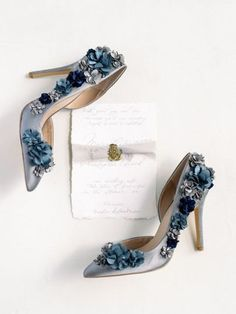 Blue wedding shoes - glam heels for bride  {Script Me Pretty}