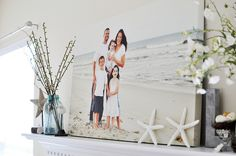 24x36 canvas family portrait on mantle. Great way to display your family photo.