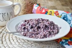 Blueberries and Cream Oatmeal is way better than any packet you can get out of a box. And yassss there's fresh fruit!