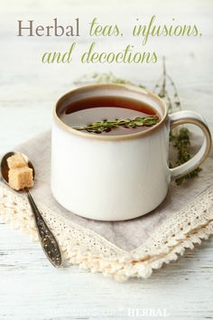 A guide to herbal teas, infusions, and decoctions. Great for beginners or as a review! // Growing Up Herbal