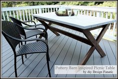 pottery barn inspired picnic table, outdoor furniture, outdoor living, painted furniture, Finished table on the deck